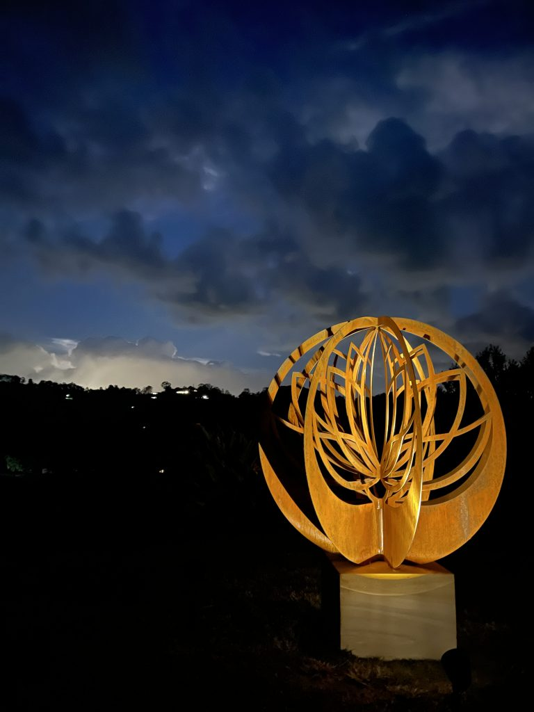 Lotus Blade Ball Metal garden art work Broadcroft Design