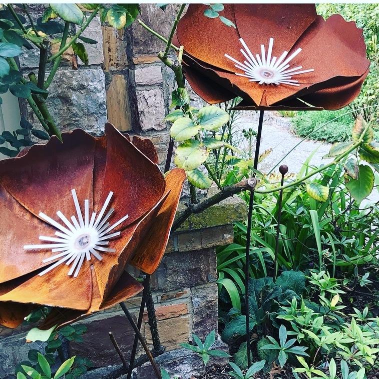 Rock Rose Metal garden art work Broadcroft Design