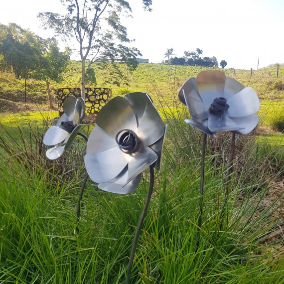 handmade Stainless Steel Poppy Garden Art Broadcroft Design