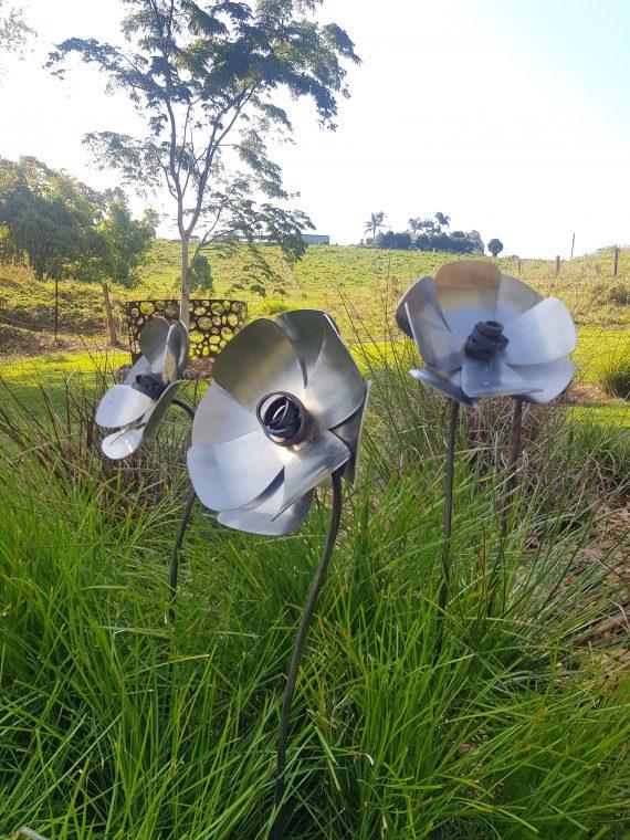 handmade Stainless Steel Poppy Garden Art