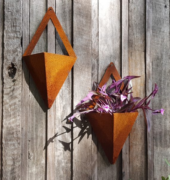 Diamond Wall Planter Metal garden art work Broadcroft Design