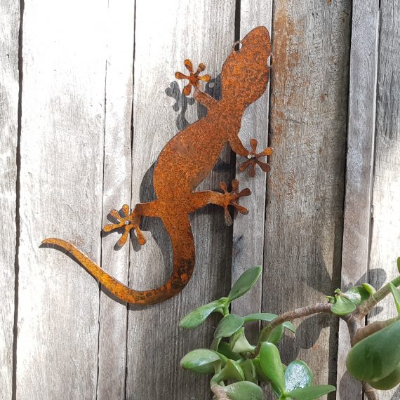 Gecko Wall Metal garden art work Broadcroft Design