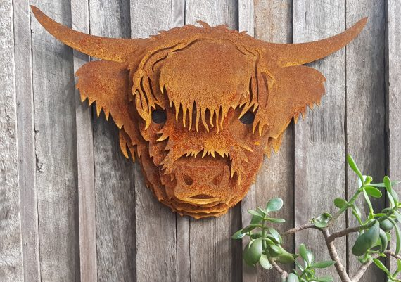 Highland Cow Head Wall PieceMetal garden art work Broadcroft Design