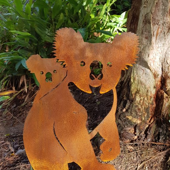 Koala Mother Baby Metal garden art work Broadcroft Design